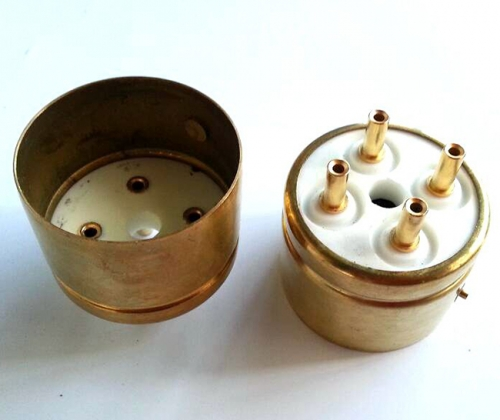 1PC 845R-G 4pin Ceramic  Gold plated Vacuum Tube Socket base  for 845 tubes