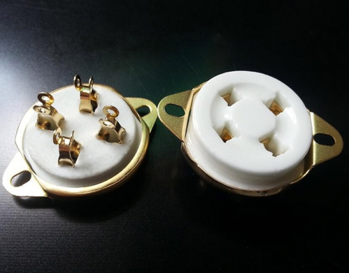 1 PC Gold plated Back Mounting 4Pin Ceramic Tube Socket Valve For 811 274A 572B 300B