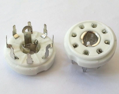 1PC Silver plated PCB mounting 8pin ceramic Vacuum tube socket for EBL21 ECH21 4P1S 5B254 7N7 12j1s