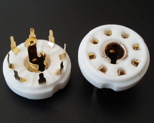 1PC gold plated PCB mounting 8pin ceramic Vacuum tube socket for EBL21 ECH21 4P1S 5B254 7N7 12j1s
