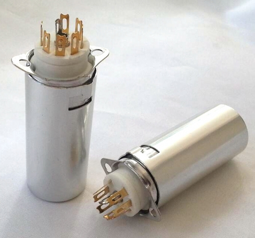 1PC Gold plated GZC7-F-B-55-G 7pin Vacuum tube socket with shield for 6Z4 6AU4 EF94 6BH6 6A2 6K4 6J5