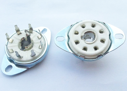 1PC Silver plated Bottom Mount Loctal PCB Mount 8pin ceramic Vacuum tube socket for C3G ECH21 4P1S 5B254 7N7 4J1S