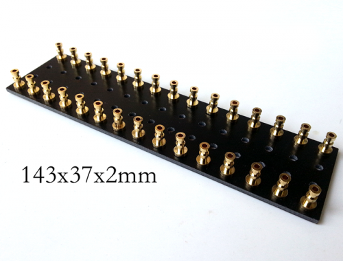 1PC 143x37x2mm Black gold plated Copper Round Type TURRET Guitar AMP TAG BOARD STRIP BOARD