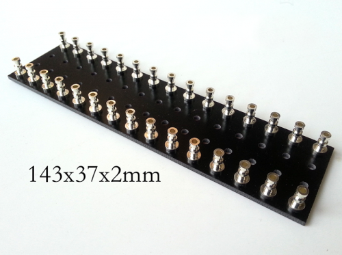 1PC 143x37x2mm Black Silver plated Copper Round Type TURRET Guitar AMP TAG BOARD STRIP BOARD