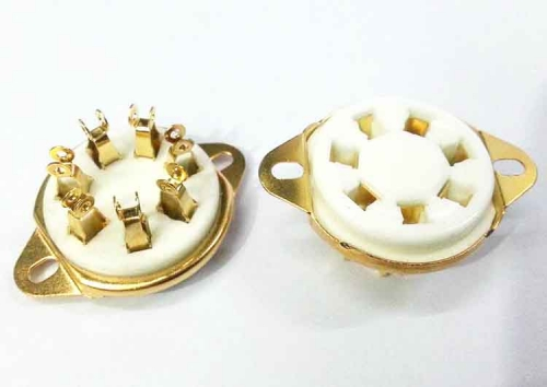 1PC GZC7-21-G 7pin Gold plated bottom mount ceramic tube socket for tube amplifier DIY