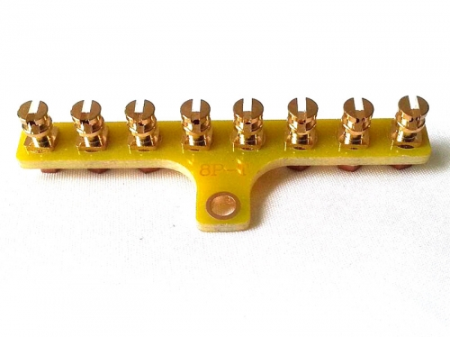 1PC T-Style 8-Post Gold Plated Vintage FR4 Tag Board Tag Strip Turret Board Brass Lug Terminal Board