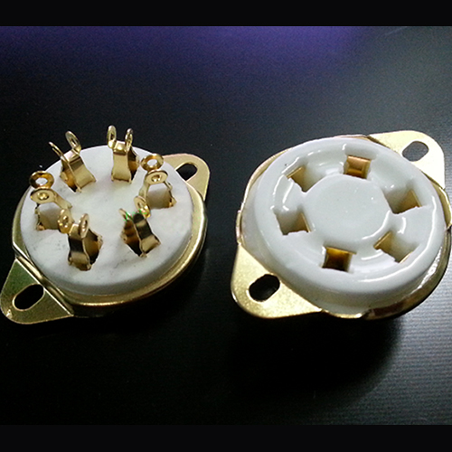 1PC Gold plated 6pin ceramic Vacuum tube socket for 310 6E5 UX6 42 366 VT57 VT58