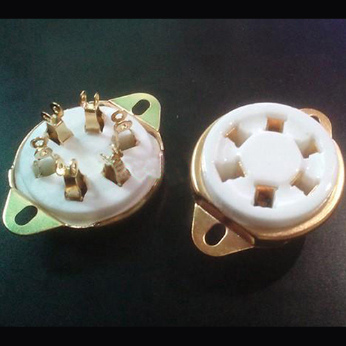 1PC  WE310A 366 VT57 VT58 1265 Gold plated 6pin U6A ceramic Vacuum tube socket