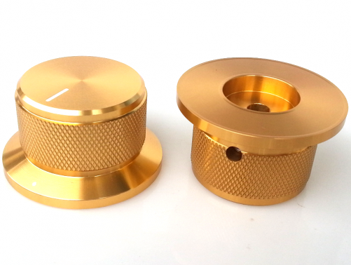 1PC 44X34x25mm Gold Color  Aluminium AMP volume potentiometer Knob 6.0mm hole