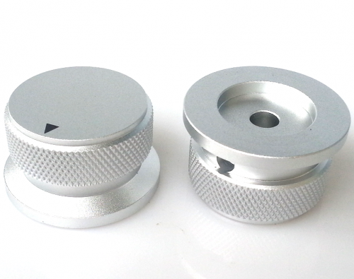 1PC 38X34X20mm Silver Color  Aluminium AMP volume potentiometer Knob 6.0mm hole