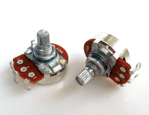 1PC 24 A type Single  3 soldering pin STEREO VOLUME Potentiometer peduncular shaft A100K