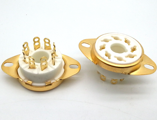 1PC GZC8-1-A-G  Gold plated 8pin ceramic Vacuum tube socket for 6550 7199 EL34 EL37 GZ32 GZ34
